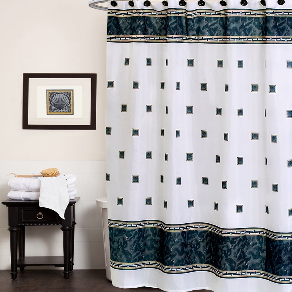 Seashell Patterned Fabric Shower Curtain With Greek Key B...