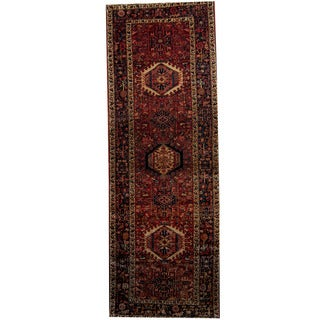 Herat Oriental Persian Hand-knotted 1940s Semi-antique Heriz Wool Rug (3'9 x 10'11)