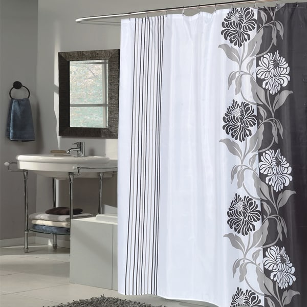 Beautiful Black and White Flower Motif Extra Long Fabric Shower ...