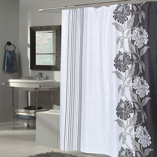Beautiful Black and White Flower Motif Extra Long Fabric Shower Curtain (70 x 84)
