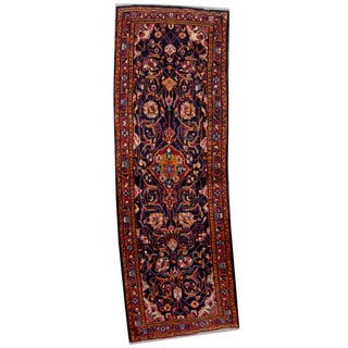Herat Oriental Persian Hand-knotted 1960s Semi-antique Hamadan Wool Rug (3'6 x 10'3)