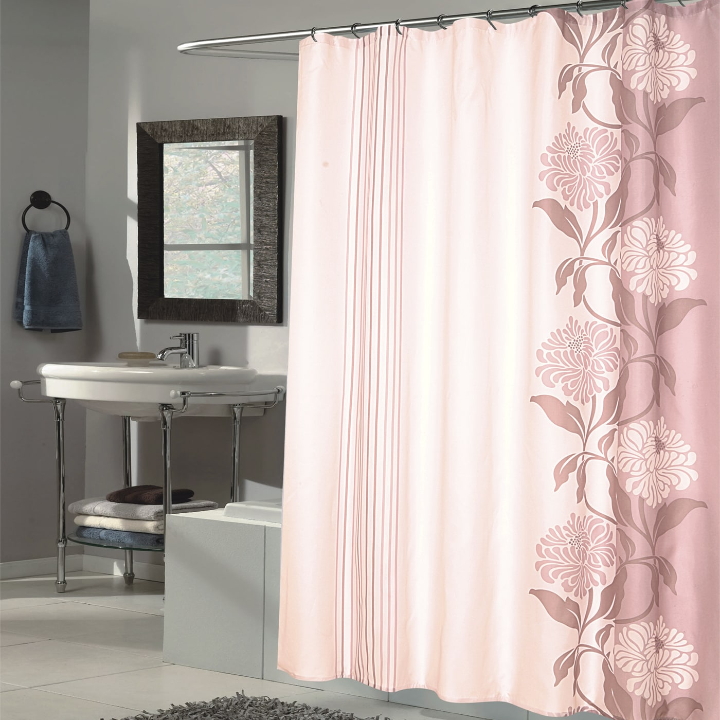 Beautiful Mauve And Ivory Flower Motif Extra Long Fabric Shower Curtain 70 X 84