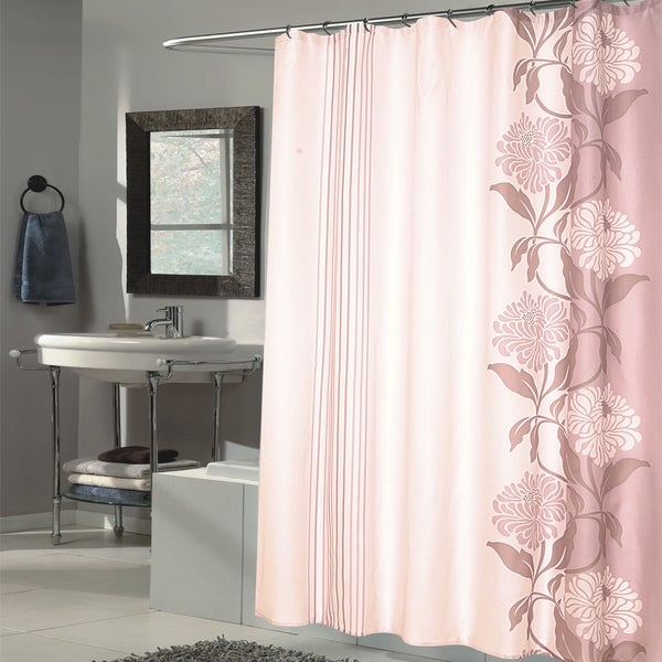 Shop Beautiful Mauve And Ivory Flower Motif Extra Long Fabric Shower Curtain 70 X 84