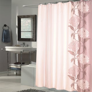 Beautiful Mauve and Ivory Flower Motif Extra Long Fabric Shower Curtain (70 x 84)