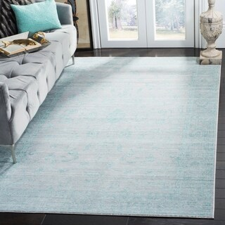Safavieh Valencia Blue/ Multi Overdyed Distressed Silky Polyester Rug (9' x 12')