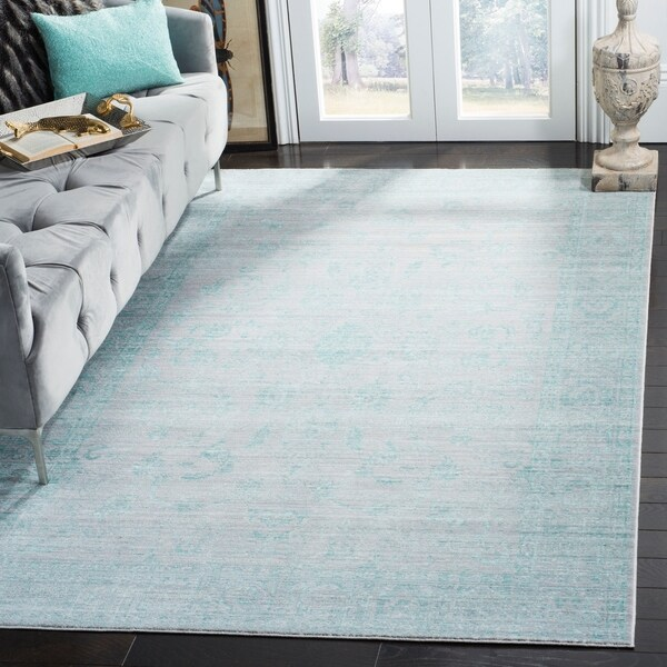Safavieh Valencia Blue/ Multi Overdyed Distressed Silky Polyester Rug - 9' x 12'