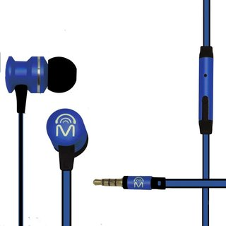 Mental Beats Xcentric Earbuds with Metal Mic Includes Tangle Free Flatwire Cord