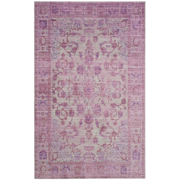 Safavieh Valencia Pink/ Multi Overdyed Distressed Silky Polyester Rug - 9' x 12'