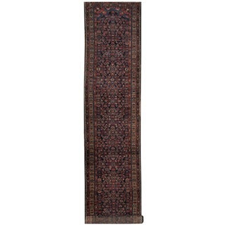 Herat Oriental Persian Hand-knotted 1920s Antique Hamadan Wool Rug (3'2 x 16'7)