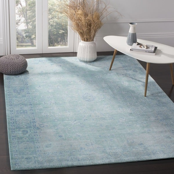 Safavieh Valencia Teal/ Multi Overdyed Distressed Silky Polyester Rug (9' x 12')