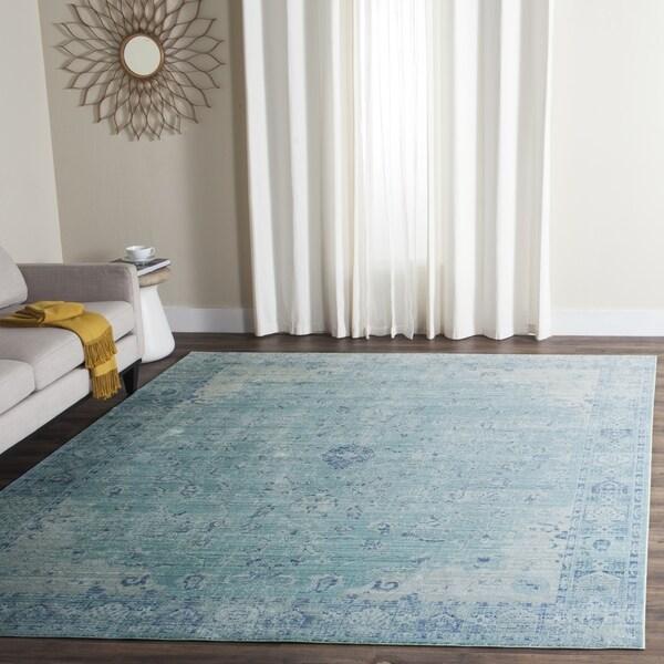 Safavieh Valencia Teal/ Multi Polyester Rug (9' X 12
