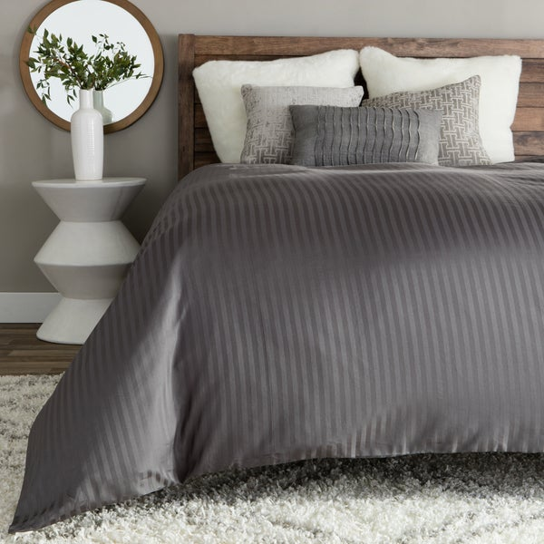 Brielle Egyptian Cotton 400 Thread Count Sateen Striped Oversized Duvet Cover