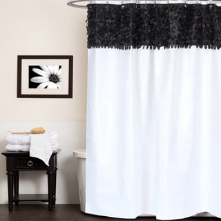 Beautiful Black And White Leaf Banded Fabric Shower Curtain