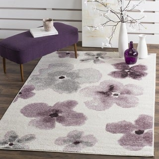 Safavieh Adirondack Floral Watercolor Ivory / Purple Rug (6' x 6')