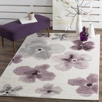 Safavieh Adirondack Floral Watercolor Ivory / Purple Rug - 6' Square