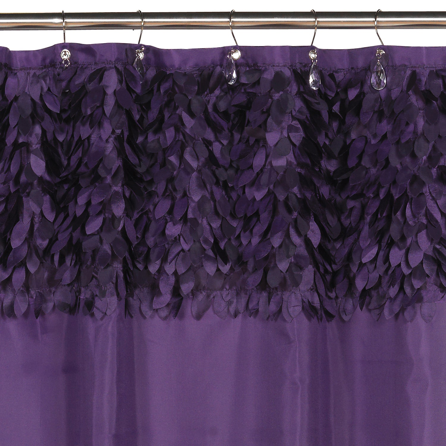 Beautiful Purple Leaf Banded Fabric Shower Curtain