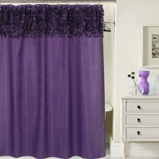 Beautiful Purple Leaf Banded Fabric Shower Curtain