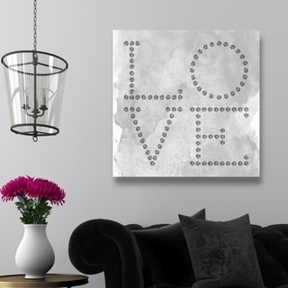 Oliver Gal 'Love Diamonds' Typography and Quotes Wall Art Canvas Print - Gray, Gray