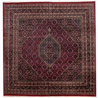 Herat Oriental Indo Hand-knotted Bidjar Red/ Navy Square Wool Rug (9'10 x 9'10)