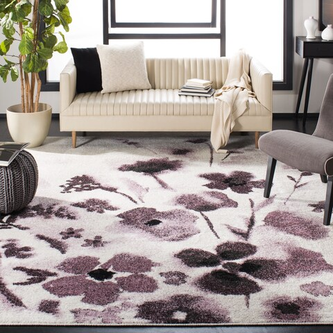 Safavieh Adirondack Kalina Vintage Floral Ivory / Purple Rug - 6' x 6' Square