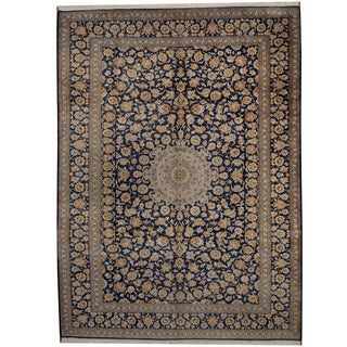 Herat Oriental Persian Hand-knotted 1960s Semi-antique Isfahan Navy/ Light Blue Wool Rug (10' x 13'8)