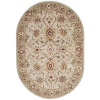 Safavieh Handmade Antiquity Grey Beige/ Sage Wool Rug - 4' 6 x 6' 6 oval