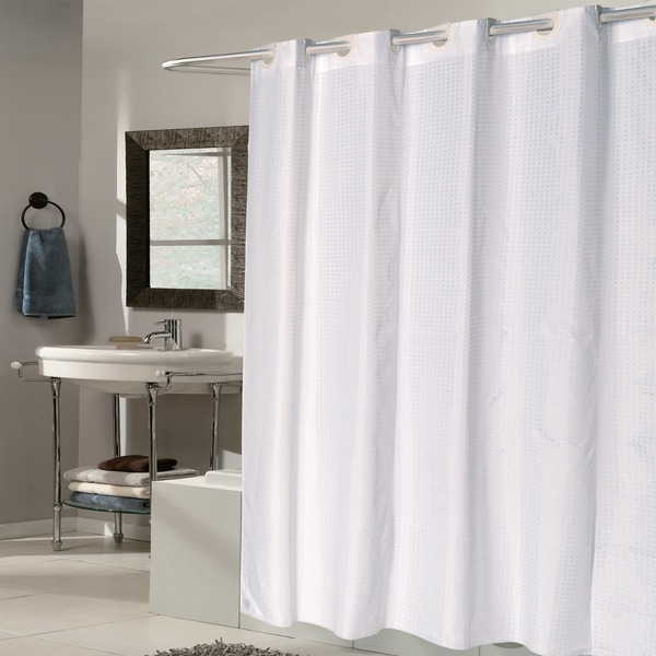 EZ On White Check Fabric Shower Curtain/ Liner with Built-in Hooks ...