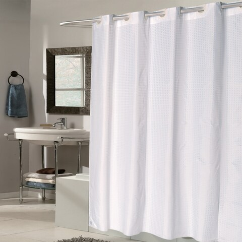 EZ On White Check Fabric Shower Curtain/ Liner with Built-in Hooks (70 x 75)