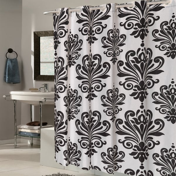 EZ On Fleur De Lis Fabric Shower Curtain/ Liner with Built-in ...