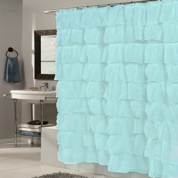 Elegant Spa Blue Crushed Voile Ruffled Fabric Tier Shower Curtain