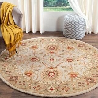 safavieh handmade antiquity grey beige sage wool rug 6u0027 round