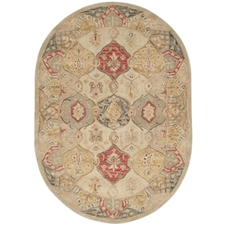 Safavieh Handmade Antiquity Beige/ Multi Wool Rug (4' 6 x 6' 6 Oval)
