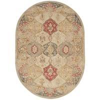 Safavieh Handmade Antiquity Beige/ Multi Wool Rug - 4' 6 x 6' 6 oval