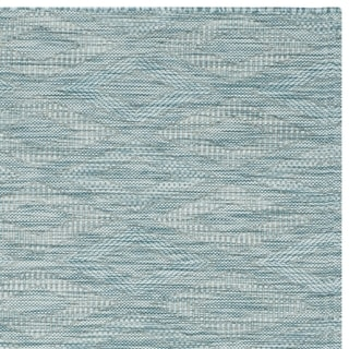 Safavieh Indoor/ Outdoor Courtyard Aqua/ Aqua Rug (6' 7 Square)