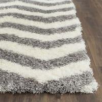 Safavieh Montreal Shag Ivory/ Grey Stripe Polyester Rug (2'3 x 5')