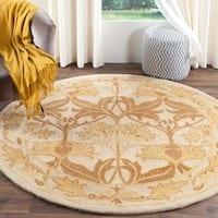 Safavieh Handmade Antiquity Beige/ Gold Wool Rug - 6' Round