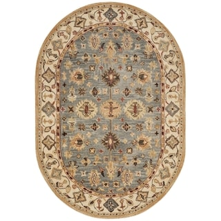 Safavieh Handmade Antiquity Blue/ Ivory Wool Rug (4' 6 x 6' 6 Oval)