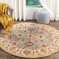 Safavieh Handmade Antiquity Blue/ Ivory Wool Rug - 6' Round