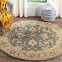 Safavieh Handmade Antiquity Teal Blue/ Taupe Wool Rug - 6' x 6' Round
