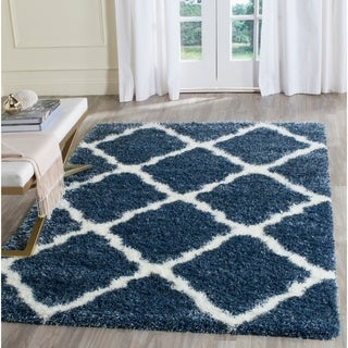 Safavieh Montreal Shag Blue/ Ivory Polyester Rug (4' x 6')
