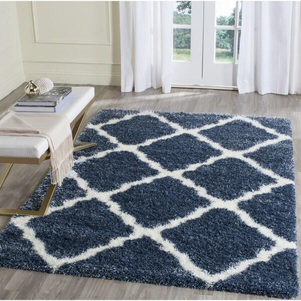 Safavieh Montreal Shag Blue/ Ivory Polyester Rug - 4' x 6'