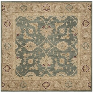 Safavieh Handmade Antiquity Teal Blue/ Taupe Wool Rug (6' x 6' Square)