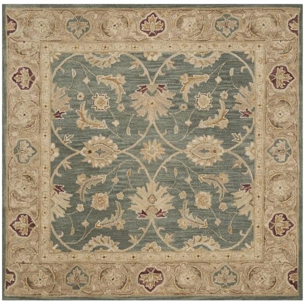 Shop Safavieh Handmade Antiquity Teal Blue/ Taupe Wool Rug