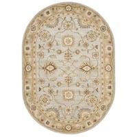 "Safavieh Handmade Antiquity Light Blue/ Sage Wool Rug - 4'6"" x 6'6"" oval"