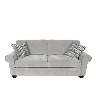 Porter Noelle Light Grey Chenille Sofa with 2 Woven Zigzag Accent Pillows
