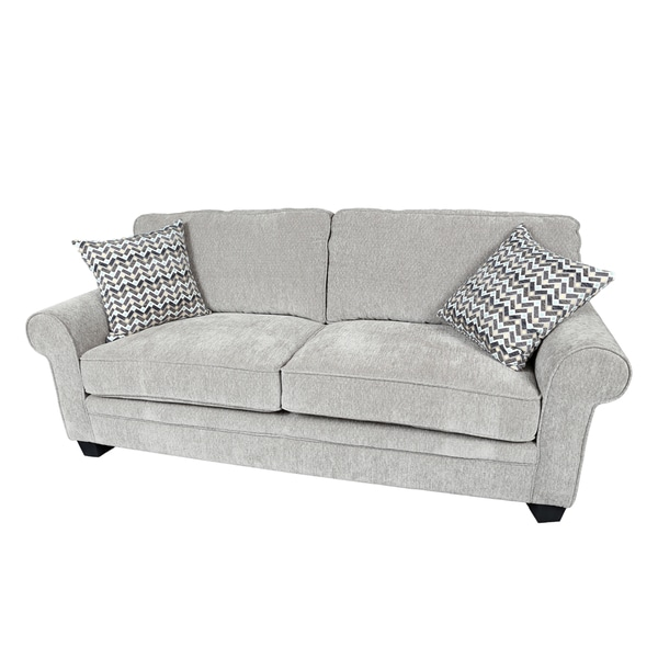 Porter Noelle Light Grey Chenille Sofa With 2 Woven Zigzag