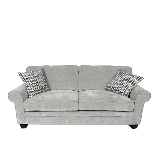 Ordinaire Porter Noelle Light Grey Chenille Sofa With 2 Woven Zigzag Accent Pillows