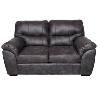Porter Grayson Soft Faux Suede Leather Grey Microfiber Loveseat