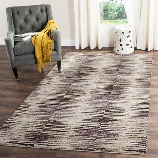 Safavieh Retro Modern Abstract Light Brown/ Eggplant Rug (6' Square)