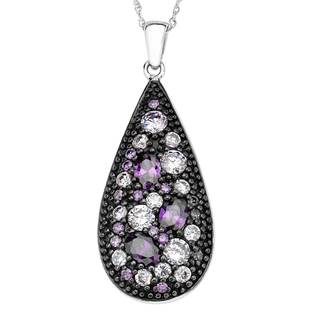 Sterling Silver Amethyst Colored Cubic Zirconia Teardrop Pendant